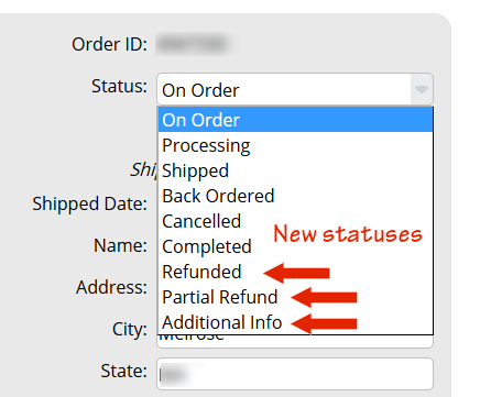 Additional Order Status Options